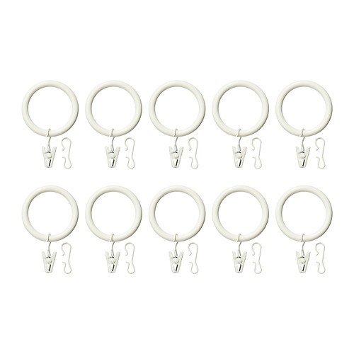 IKEA SYRLIG - anneau de rideau avec pince et crochet, blanc / paquet de 10 - 38 mm