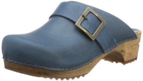 Sanita Mujeres Wood Urban Clog Cuero Open Blue Oil - 36
