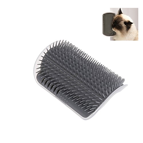 FOXCELL Cat 2.0 Self Groomer, Massage Comb Wall Corner, Cat Scratcher Grooming Arch Hair Removal Brush Tool, Pet Groomer Supplies with Catnip for Cat (Grey)