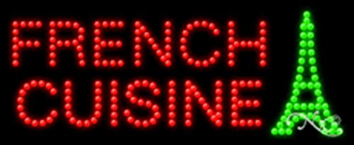 11x27x1 inches French Cuisine, Logo Animated Flashing LED Window Sign by Light Master