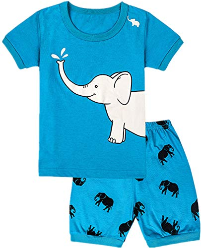 WWEXU Boys Pyjamas Kids Pajamas 100% Cotton Children PJS Pajamas for Boy Elephant Loungewear (1Blue, 5) ()