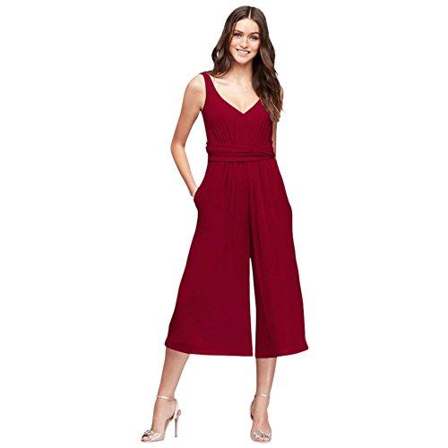 Style David Apple Jumpsuit Crinkle s Bridesmaid Tie Dress Bridal F19741 Chiffon Back Bridesmaid qTvUpHq