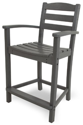 - POLYWOOD TD201GY La Casa Café Counter Arm Chair, Slate Grey