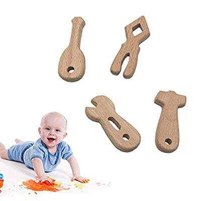Ladaidra 4 Pcs/Set Baby Teether Tool Shapes Teething Nursing Natural Wooden Toys Organic: Toys & Games