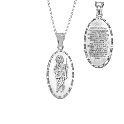 The Ice Empire Jewelry Saint Jude Thaddeus San Judas Sterling Silver Gold-Plated Spanish Pendant Necklace 20in (Sterling Silver)