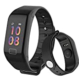 Fitness Tracker, Activity Tracker HD Colorful Touch Screen,Health Tracker HR/Blood Pressure/Blood Oxygen/Sleep Monitor,Fitness Watch IP67 Waterproof Smart Band (Black-F1)