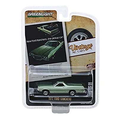 "Greenlight 39020-E Vintage Ad Cars Series 1-1972 Ford Ranchero ""New Ford Ranchero…The Pickup Car!"" 1:64 Scale: Toys & Games"