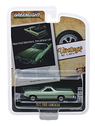 """Greenlight 39020-E Vintage Ad Cars Series 1-1972 Ford Ranchero """"New Ford Ranchero...The Pickup Car!"""" 1:64 Scale"""
