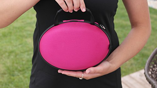 d2ef5b87d08 CASEBUDi Oval Hard Shell Headphone Carrying Case | Travel Pouch Protection  for Beats & Other Foldable Headphones | Pink Ballistic Nylon
