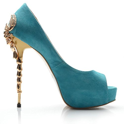 Blue 3CM Skin Best 14CM Peep Heels Platform Rhinestone Sole Rubber 4U Spring Autumn High Stiletto Heel Shoes Toe Sheep Women's qwHFqg06