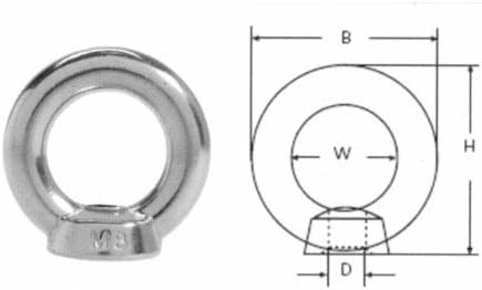 A4 marine Grade M12 Eye Nut T316 Stainless Steel