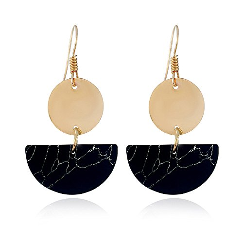 FTXJ Fashion Bohemian Folk Style Semicircular Round Earrings Jewelry for Girls for Party Banquet (Black) ()