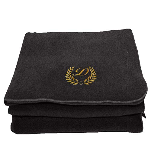 BgEurope Personalized Custom Embroidered Polar Sofa Bed Travel Fleece Blanket - REF. Leaves - Grey