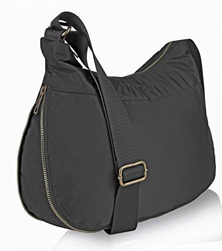 Suvelle, borsa a tracolla espandibile, con tecnologia RFID per proteggere dai furti, con numerose tasche, in nylon, borsa da viaggio, numero prodotto: BA20 Grey