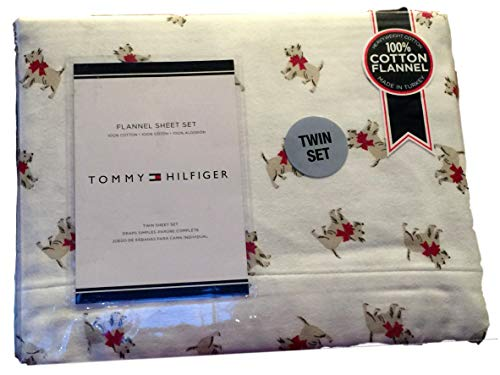 Tommy Hilfiger Terrier Dogs with Red Bow Twin Flannel Sheet Set ()