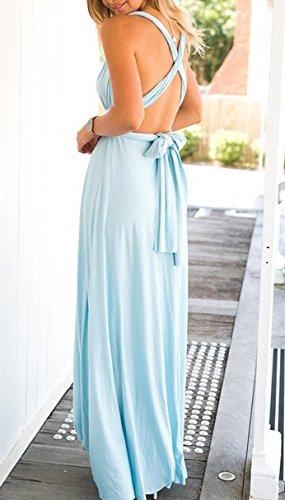 Vestito Donna Maniche Senza Estivi Da Vestiti Ragazza Strappy Sera Spiaggia Bendare Eleganti Abbigliamento Spalline Lunghi Cocktail Blu Abiti Mare Schienale Cerimonia wtcpWqqdBn