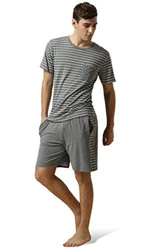 Cotton Set Knit - Lasher Men's Knit Cotton Pajama Set Stripped Short Sleeve Sleepwear Top & Shorts Grey L