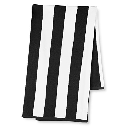 Luxor Linens 30-Inch-by-70-Inch Egyptian Cotton Classic Cabbana Stripe Beach Towel, Black (Egyptian Towels Black Cotton)