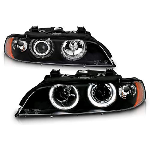 AmeriLite Black Projector Replacement Headlights Dual LED Halo Set for 97-03 BMW 5 Series E39 - Passenger and Driver Side