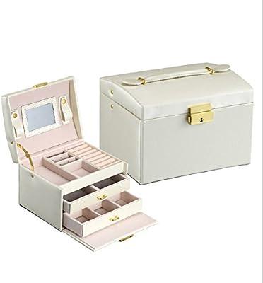 Maison Jardin Casa jardín – Joyero maletín/cajas/caja de maquillaje piel sintética 3 bandejas caja de bijou Mujer Niña Elegant: Amazon.es: Hogar