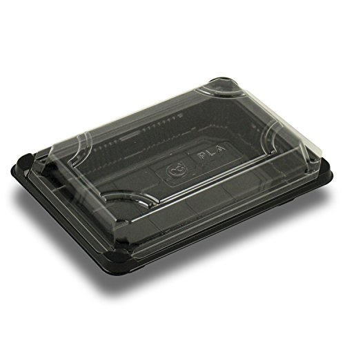 Jaya 100% Compostable Pla Take-Out Tray with Clear Lid, 7 X 4-7/8 X 1-3/4, 300 Count