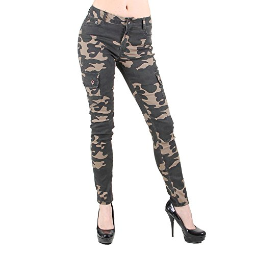 Red Fox Girls' Camo Skinny Cargo Pants Large Olive 348 by Red Fox