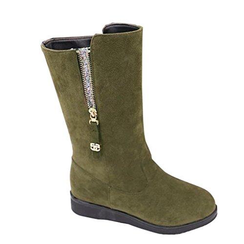 Deesee (tm) Dames Femmes Bottes Plates Hiver Chaussures Chaudes Courtes Bottes De Neige (us 9.5, Vert Armée)