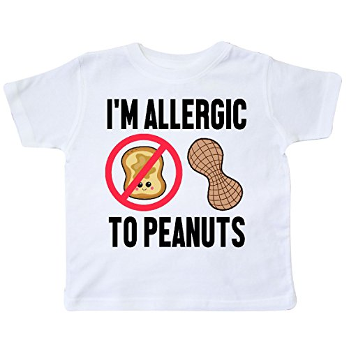 inktastic - Im Allergic to Peanuts Food Allergy Toddler T-Shirt 5/6 White - To Allergic Peanuts