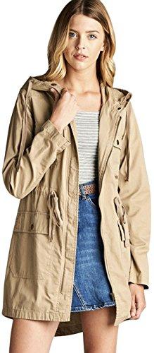 ToBeInStyle Women's Drawsting Waist Hooded Utility Jacket - C Khaki - Medium Beige Womens Jacket