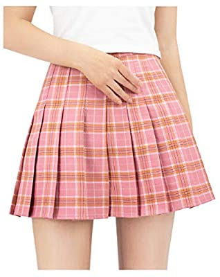 DAZCOS US Size Plaid Skirt High Waist Japan School Girl Uniform Skirts