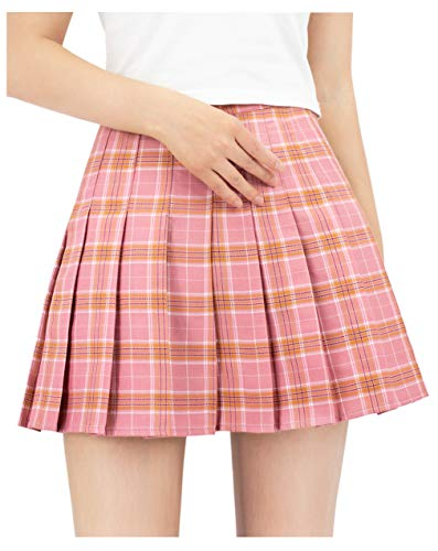 DAZCOS US Size Plaid Skirt High Waist Japan School Girl Uniform Skirts (Women XXXL, Pink)]()