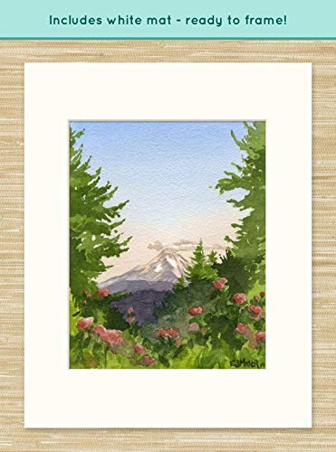 Mt. Hood Portland Oregon watercolor painting, Oregon artwork, Oregon wall art, Portland Rose Test Garden painting, Mt. Hood Oregon art