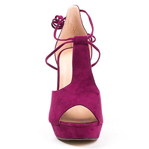 Ideal Shoes, Damen Sandalen Violett