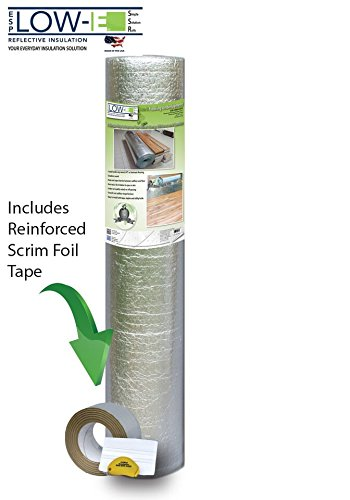 ESP Low-E Flooring Underlayment 100, 200, 300, 400, 500 sq ft Rolls with Scrim Tape Matching Roll Length (4'x100') (Foil Floor Underlayment)