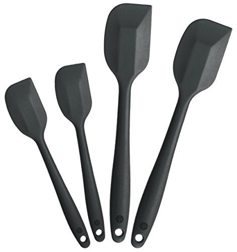 StarPack Basics Range Silicone Spatula Set of 4 in FDA Grade with Hygienic Solid Coating + Bonus 101 Cooking Tips (Gray Black)