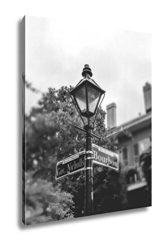 Ashley Canvas Bourbon Street New Orleans Ancient Street Lamp And Pointer, Wall Art Home Decor, Ready to Hang, Black/White, 20x16, ()