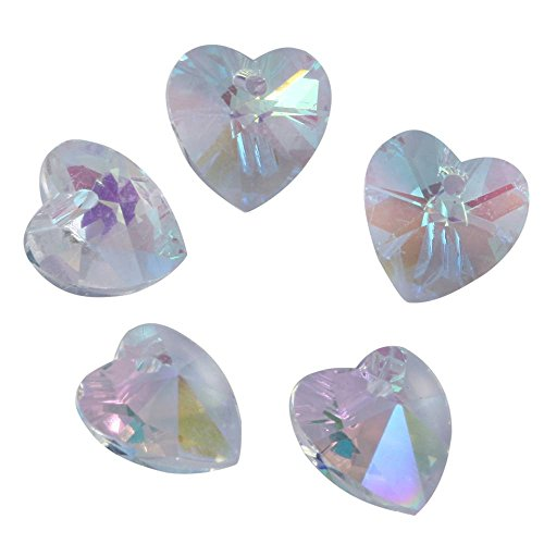 20pcs Top Quality Czech Top Drilled Heart Crystal Beads 6228 10mm Heart Beads Crystal AB Compatible with Swarovski Crystals Preciosa CCH1002