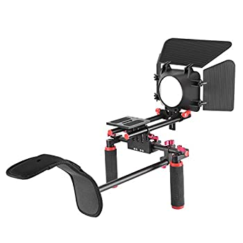 Neewer Camera Movie Video Making Rig System Film-maker Kit For Canon Nikon Sony & Other Dslr Cameras, Dv Camcorders,includes: Shoulder Mount, Standard 15mm Rail Rod System, Matte Box (Red & Black) 5