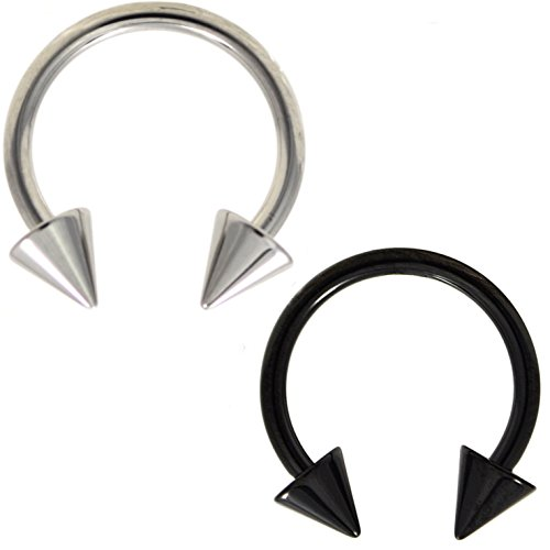 Two-Color Set Black and Steel Circular Barbells Horseshoe Rings with Spike Ends (16 Gauge (16g End)