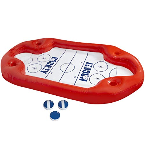 Wanderlust Poolside Air Hockey for Adults, Oversized Pool Games, Over 5ft. Long, Best Blow-Up Toy for Pool Parties, Fun 2-Player Game, 2 Strikers and 1 Puck, No Ice, No Power, Use in Pool or on Grass ()