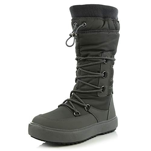 DailyShoes Women's Comfort Round Toe Mid Calf Fringe Lace Up Eskimo Winter Snow Boots, Grey, 9 B(M) US -