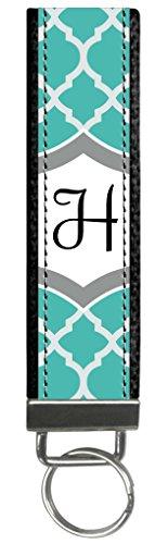 Snaptotes Teal Moroccan Design Monogram Wristlet Keyfob Keychain by Snaptotes