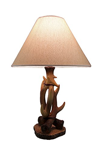 3 Entwined Antlers Rustic Table Lamp w/Fabric - Elk Lamps Antler