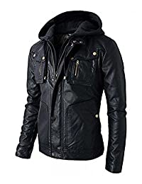 Men's Brando Motorcycle Style Biker Leather Hoodie Jacket - Detachable Hood Coat