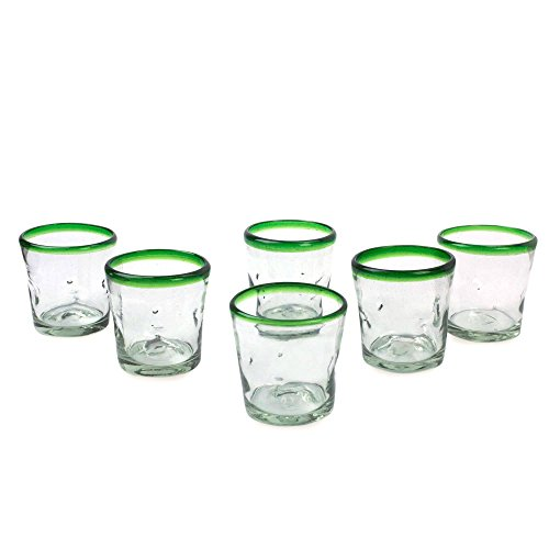 NOVICA Artisan Crafted Clear Green Rim Hand Blown Recycled Glass Tumbler Glasses, 9 oz. 'Lime Freeze'