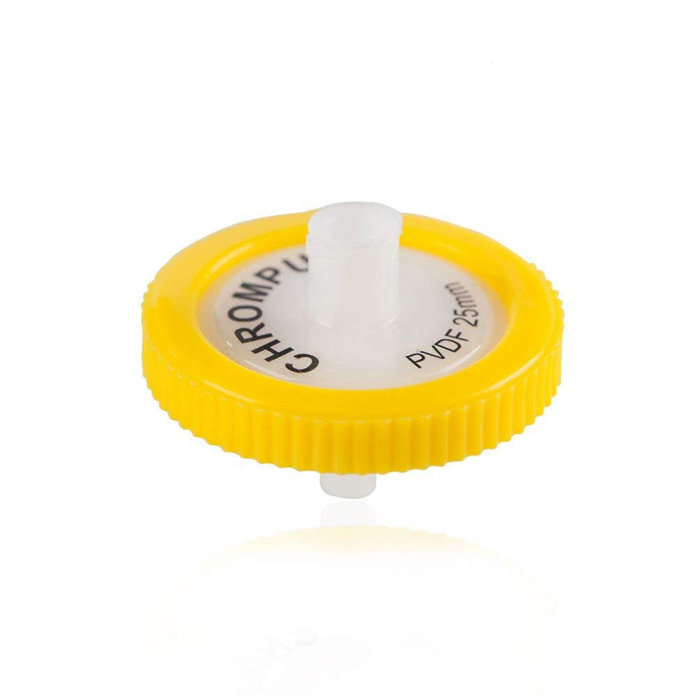Syringe Filter, Membrane Solutions Lab Supply Filter PVDF,0.22 Micron Pore Size,25mm Diameter,Pack of 10