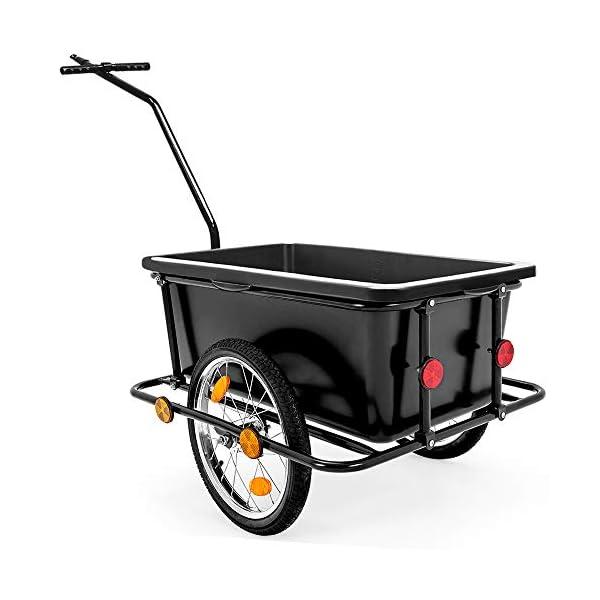 Deuba Rimorchio per bicicletta vasca in plastica rimovibile 90 L carrello per bici trasporto oggetti 80Kg 6 spesavip