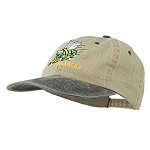 Navy Seabees Symbol Embroidered Dyed Two Tone Cap - Khaki Black