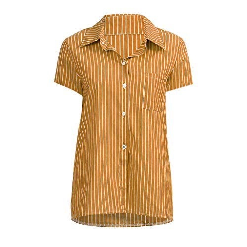 KYLEON Women's T-Shirts Striped Print Short Sleeve Button Down Casual Summer Girls Tops Tee Blouse Tunics with Pocket Yellow by KYLEON (Image #1)