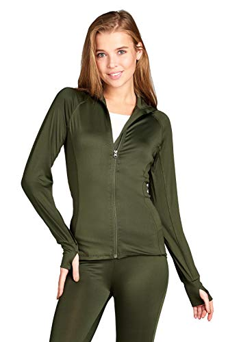 Hollywood Star Fashion Long Sleeve Zip up Athletic wear Sweater Jacket (Small, Olive) ()
